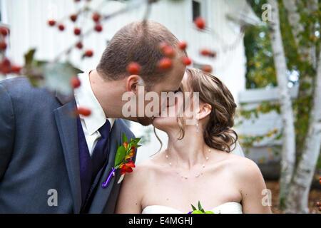 Newlywed Kiss - Stock Photo