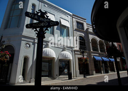Rodeo Drive, luxury shopping street in Beverly Hills, Los Angeles, California, USA - Stock Photo