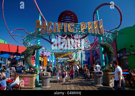 Pacific Park amusement park, Santa Monica Pier, Santa Monica, Los Angeles, California, USA - Stock Photo
