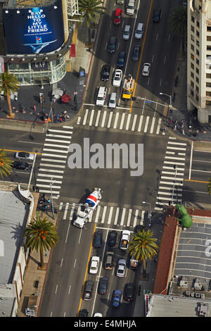 Intersection on Hollywood Boulevard, Hollywood, Los Angeles, California, USA - aerial - Stock Photo
