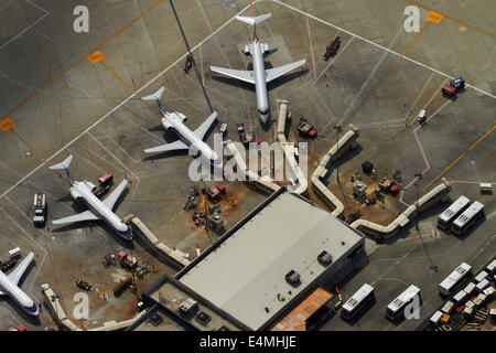 American Eagle planes and terminal at Los Angeles International Airport (LAX), Los Angeles, California, USA - aerial - Stock Photo