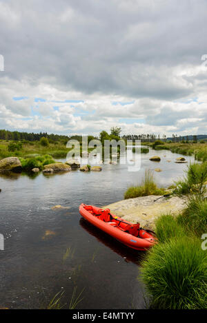 Canoeing on River Dee, Galloway Forest, Dumfries & Galloway, Scotland - Stock Photo