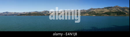 Panoramic view from Akaroa Harbour - Stock Photo