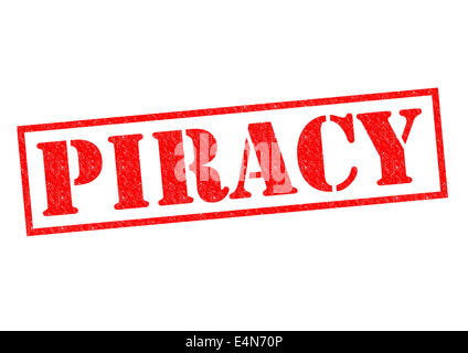 PIRACY red Rubber Stamp over a white background. - Stock Photo