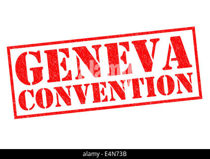 GENEVA CONVENTION red Rubber Stamp over a white background. - Stock Photo