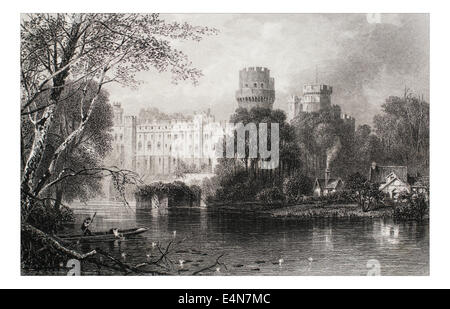 Warwick Castle _Illustration from 'The British isles - Cassell Petter & Galpin Part 5 Picturesque Europe. 1877' - Stock Photo