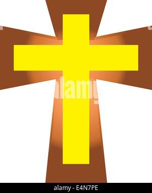 The Vector of Yellow Jesus Cross on Cross Isolated . - Stock Photo