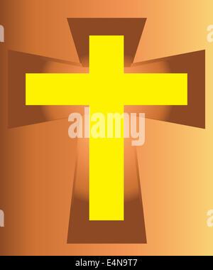 The Vector of Yellow Jesus Cross on Cross. - Stock Photo