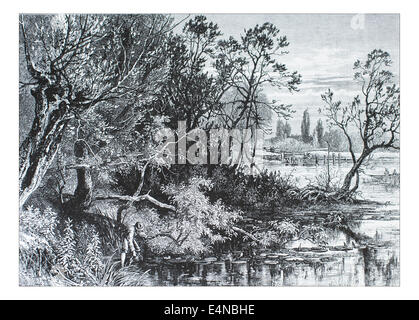 Temple Lock near Marlow _Illustration from 'The British isles - Cassell Petter & Galpin Part 10 Picturesque Europe. - Stock Photo