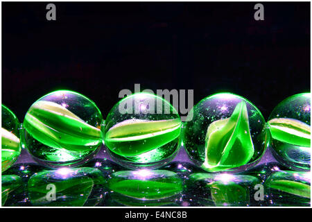 colored  marbles with different lighting effects - Stock Photo