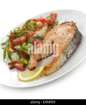 Salmon With Potatoes And Vegetables - Stock Photo