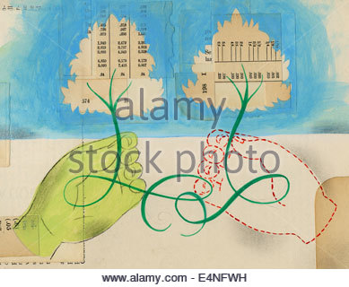 Connected hands holding trees of financial figures - Stock Photo