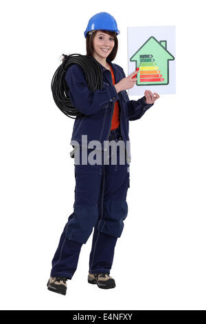 Electrician with an energy rating card - Stock Photo