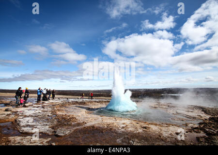 Stokkur Geysir in Southwestern Iceland, which jettisons boiling water to a height of 30 metres. - Stock Photo