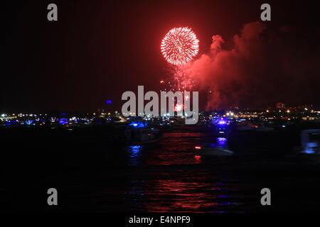 Miami Bay front 4th Of July fireworks - Stock Photo