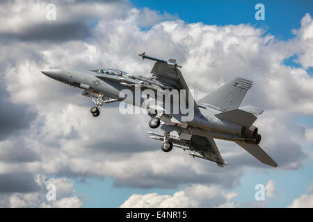 Boeing F/A-18E Super Hornet of US Navy takes off Stock Photo