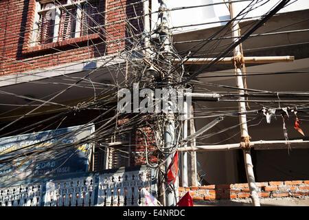 Complex electrical wiring, Beni, Nepal - Stock Photo