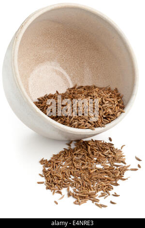 Dried caraway or cumin seeds in small bowl on white background - Stock Photo