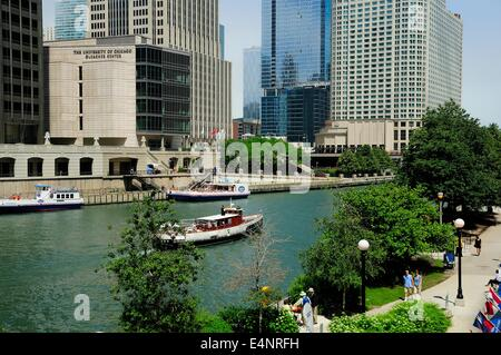 architectural tour boat cruising the chicago river stock photo