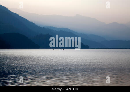 Phewa Lake (Phewa Tal) at Pokhara, Kaski District, Nepal - Stock Photo