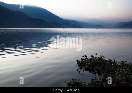 Phewa Lake (Phewa Tal) at Pokhara, Kaski District, Nepal - Stock Photo