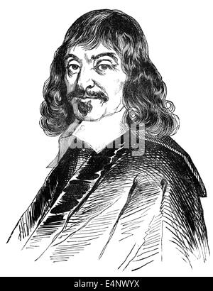 René Descartes or Renatus Cartesius, 1596 - 1650, a French philosopher, mathematician and scientist, - Stock Photo