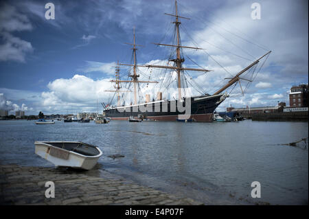 HMS Warrior, Portsmouth docks. - Stock Photo