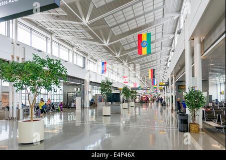 Departure gates at Washington-Dulles International Airport, Dulles, Virginia, USA - Stock Photo