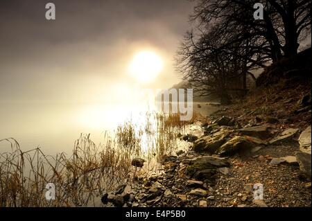 Winters Morning on the Lake - Stock Photo