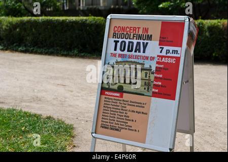 A banner outside the Rudolfinum Concert Hall, Prague, Czech Republic. - Stock Photo