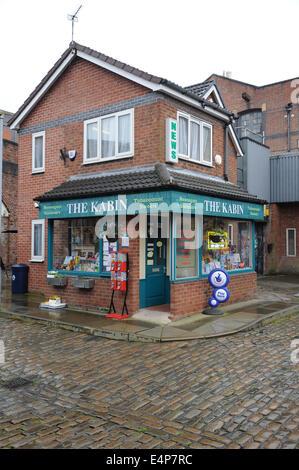 The Kabin on the set of Coronation Street at the ITV Granada Studios, Quay Street, Manchester, UK - Stock Photo