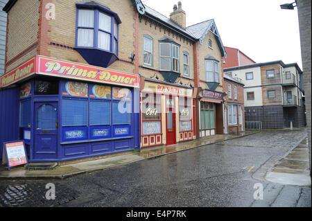 Shops on the set of Coronation Street at the ITV Granada Studios, Quay Street, Manchester, UK - Stock Photo