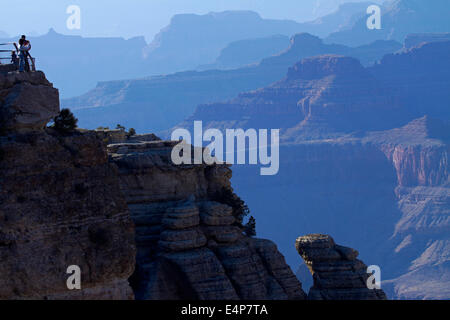 Grand Canyon and tourists at Mather Point, South Rim, Grand Canyon National Park, Arizona, USA - Stock Photo