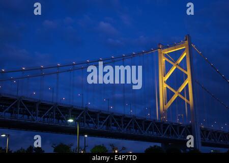 Great Seto Bridge (Seto Ohashi) at Dusk in Kagawa Prefecture, Japan - Stock Photo