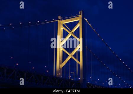Great Seto Bridge (Seto Ohashi) at Night in Kagawa Prefecture, Japan - Stock Photo