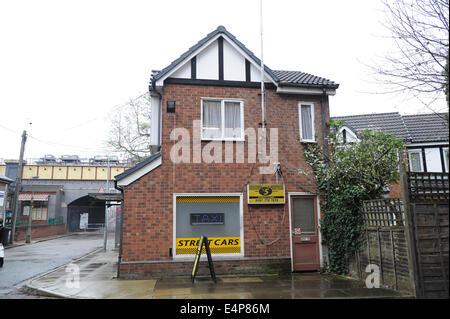 Street Cars office on the set of Coronation Street at the ITV Granada Studios, Quay Street, Manchester, UK - Stock Photo
