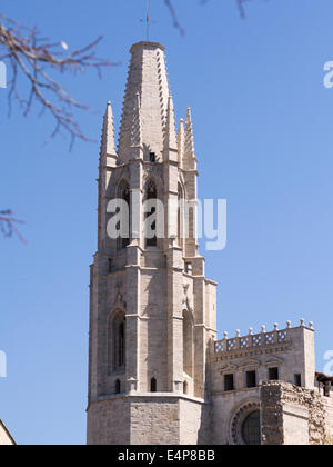 Tower of the Basilica Parroquial de Sant Feliu. The almost modern looking bell tower of the Basillica below the - Stock Photo
