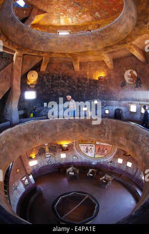Inside the historic watchtower (1932), Desert View, East Rim Drive, Grand Canyon National Park, Arizona, USA - fisheye - Stock Photo