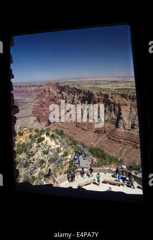 Grand Canyon seen from Watchtower (1932), Desert View, East Rim Drive, Grand Canyon National Park, Arizona, USA - Stock Photo
