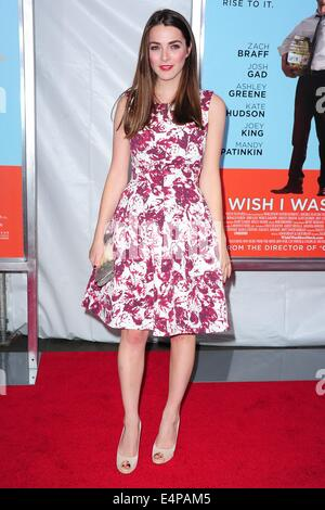 New York, USA. 14th July 2014. Bee Shaffer arriving for the premiere of WISH I WAS HERE at at AMC Lincoln Square. - Stock Photo