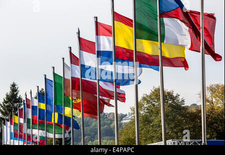 Flag poles with flags of various European countries, - Stock Photo