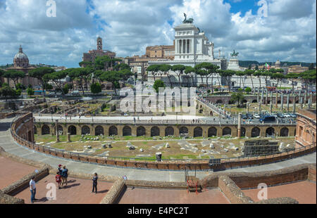 Trajan's market and Roman forums in Rome, Italy - Stock Photo
