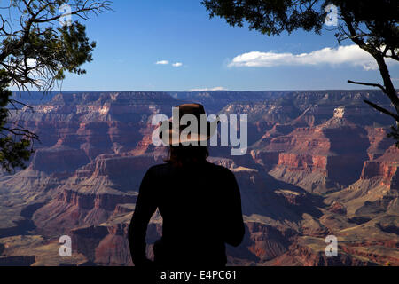 Woman viewing Grand Canyon from South Rim Trail, Grand Canyon National Park, Arizona, USA - Stock Photo