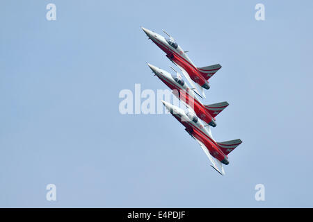 Formation flight of the Patrouille Suisse with the Northrop F-5E Tiger II, Lake Festival 2014, Canton Zug, Switzerland - Stock Photo