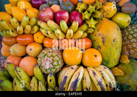 Various tropical fruits, fruit for sale, Peru - Stock Photo