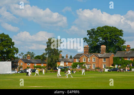 Cricket match in Hartley Wintney, Hampshire, England UK - Stock Photo