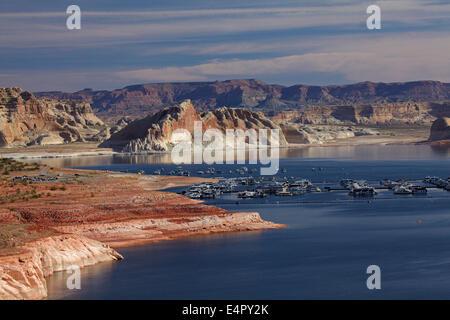 Lake Powell and Houseboats at Wahweap Marina, near Page, Arizona, (far shoreline is in Utah), USA