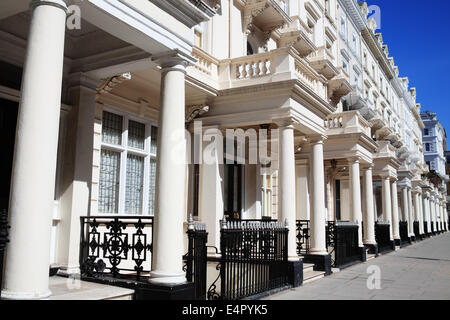 Regency Georgian terraced town houses in London's, Kensington, England, UK - Stock Photo