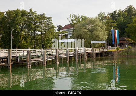 boat landing on the island Herreninsel in lake Chiemsee, Chiemgau, Bavaria, Germany, Europe - Stock Photo