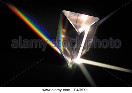Light beams refracted through prism into color spectrum - Stock Photo